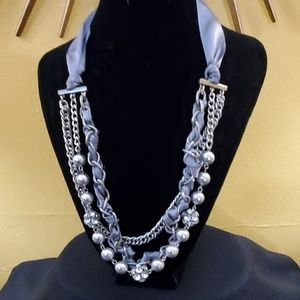 LOFT Grey Ribbon Rhinestone Necklace #614